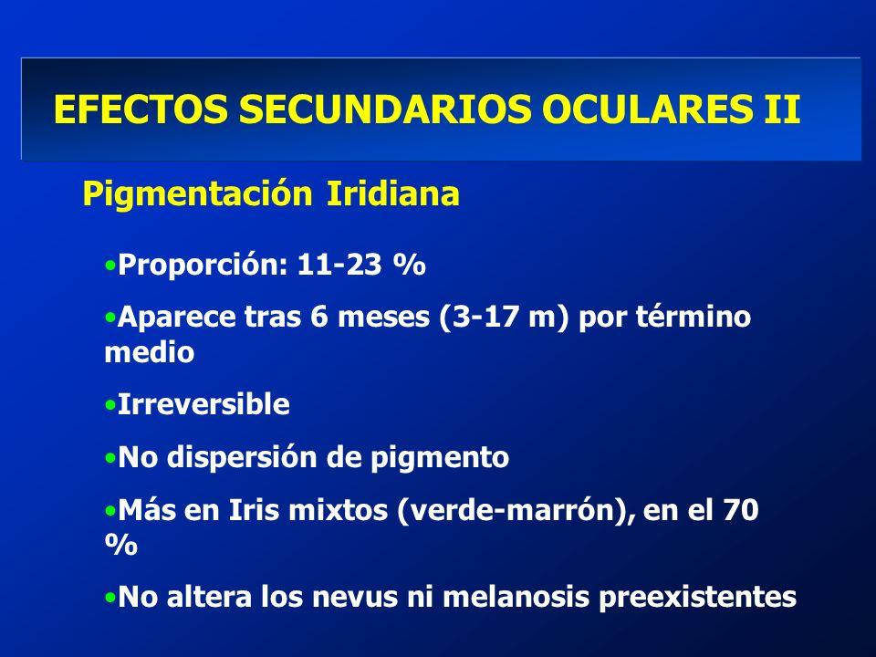 EFECTOS SECUNDARIOS OCULARES II Pigmentación Iridiana Proporción: 11-23 % Aparece tras 6 meses (3-17 m) por término medio Irreversible No dispersión d