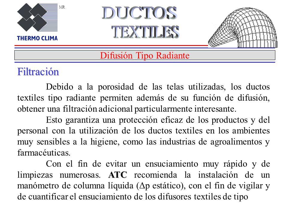Difusión Tipo Radiante Debido a la porosidad de las telas utilizadas, los ductos textiles tipo radiante permiten además de su función de difusión, obtener una filtración adicional particularmente interesante.