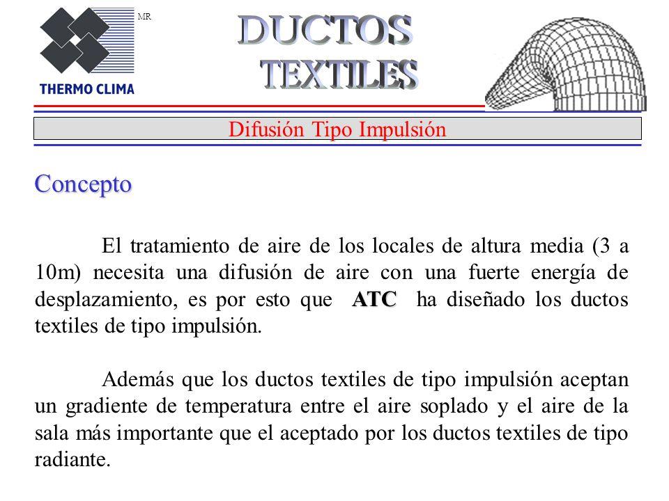 Difusión Tipo Impulsión ATC El tratamiento de aire de los locales de altura media (3 a 10m) necesita una difusión de aire con una fuerte energía de desplazamiento, es por esto que ATC ha diseñado los ductos textiles de tipo impulsión.