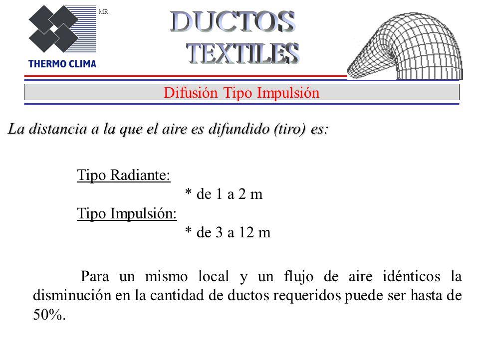 Difusión Tipo Impulsión La distancia a la que el aire es difundido (tiro) es: Tipo Radiante: * de 1 a 2 m Tipo Impulsión: * de 3 a 12 m Para un mismo local y un flujo de aire idénticos la disminución en la cantidad de ductos requeridos puede ser hasta de 50%.