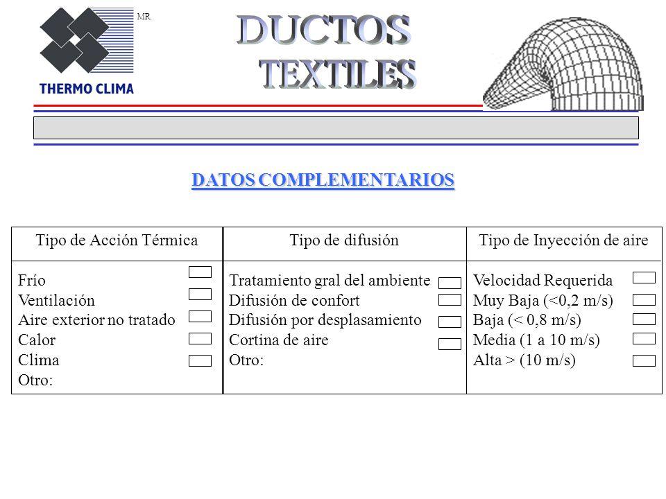 DATOS COMPLEMENTARIOS Tipo de Acción Térmica Frío Ventilación Aire exterior no tratado Calor Clima Otro: Tipo de difusión Tratamiento gral del ambiente Difusión de confort Difusión por desplasamiento Cortina de aire Otro: Tipo de Inyección de aire Velocidad Requerida Muy Baja (<0,2 m/s) Baja (< 0,8 m/s) Media (1 a 10 m/s) Alta > (10 m/s) MR