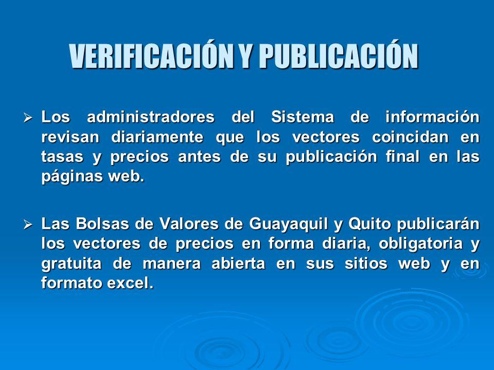 VERIFICACIÓN Y PUBLICACIÓN Los administradores del Sistema de información revisan diariamente que los vectores coincidan en tasas y precios antes de s