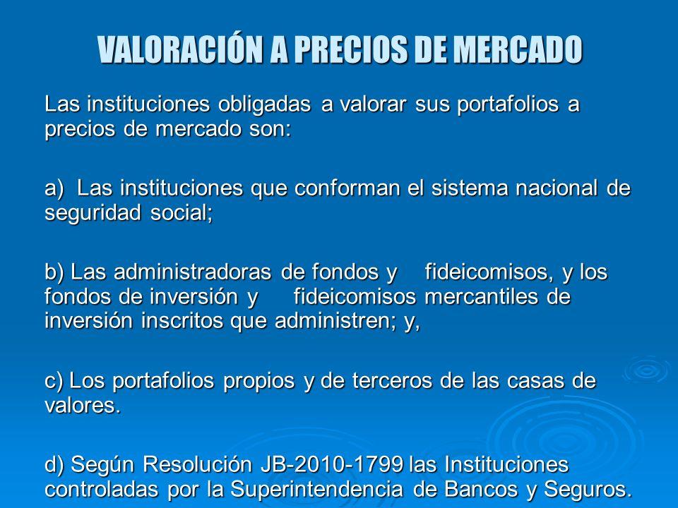 VALORACIÓN A PRECIOS DE MERCADO Las instituciones obligadas a valorar sus portafolios a precios de mercado son: a) Las instituciones que conforman el