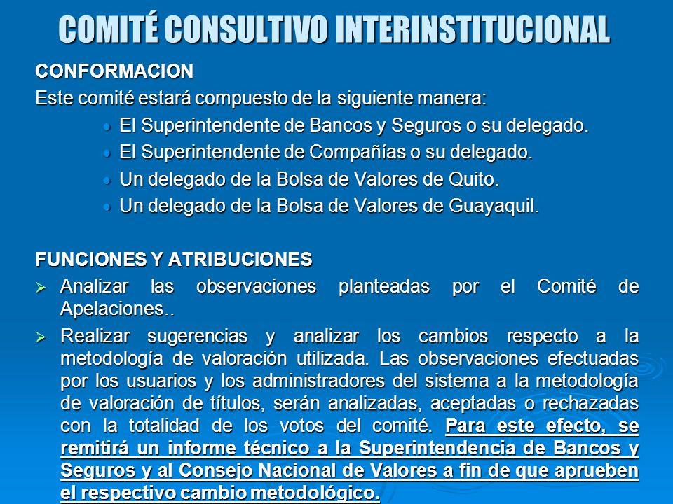 COMITÉ CONSULTIVO INTERINSTITUCIONAL CONFORMACION Este comité estará compuesto de la siguiente manera: El Superintendente de Bancos y Seguros o su del