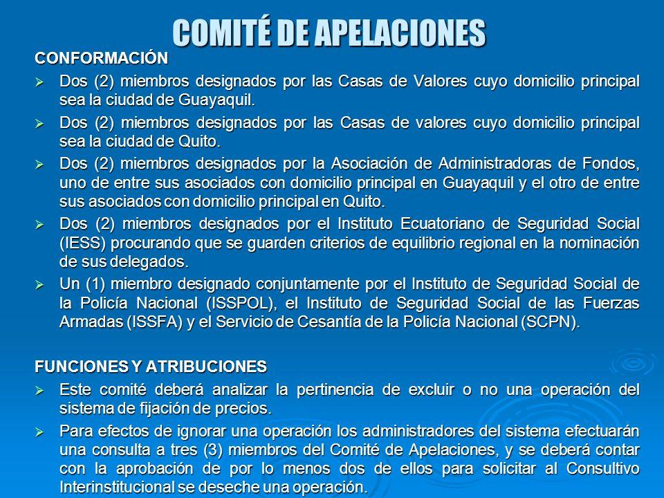COMITÉ DE APELACIONES CONFORMACIÓN Dos (2) miembros designados por las Casas de Valores cuyo domicilio principal sea la ciudad de Guayaquil. Dos (2) m