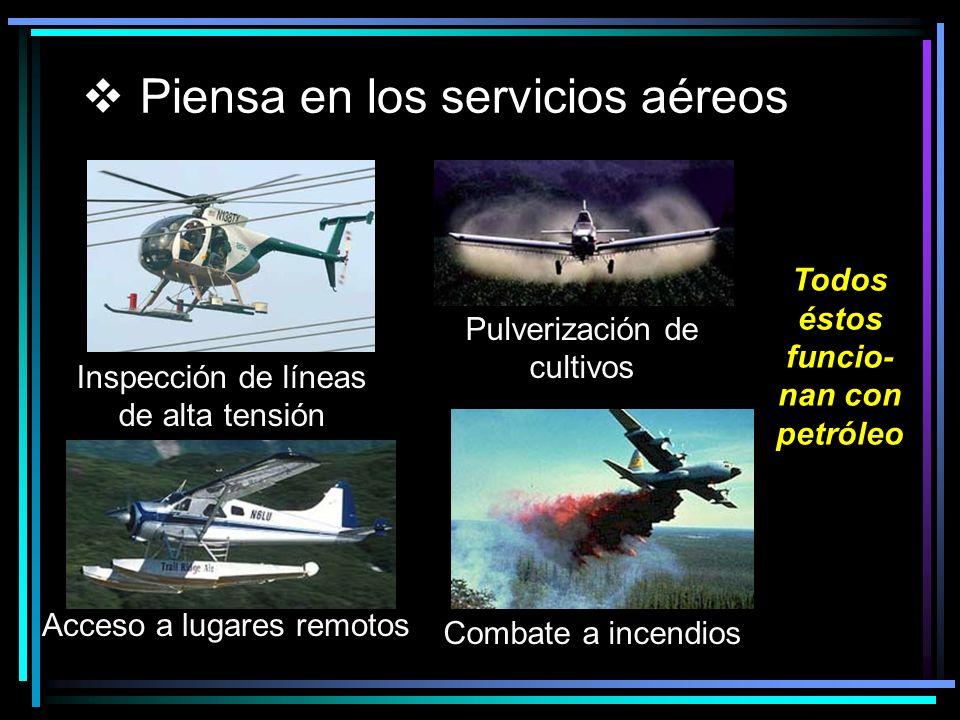 Piensa en los servicios aéreos Inspección de líneas de alta tensión Pulverización de cultivos Acceso a lugares remotos Combate a incendios Todos éstos funcio- nan con petróleo