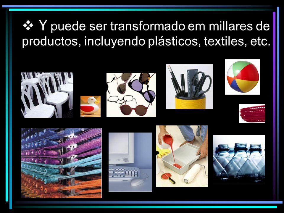 Y puede ser transformado em millares de productos, incluyendo plásticos, textiles, etc.