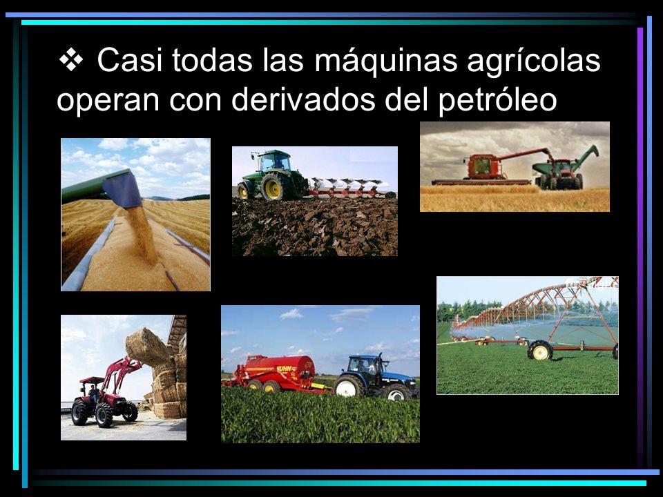Casi todas las máquinas agrícolas operan con derivados del petróleo