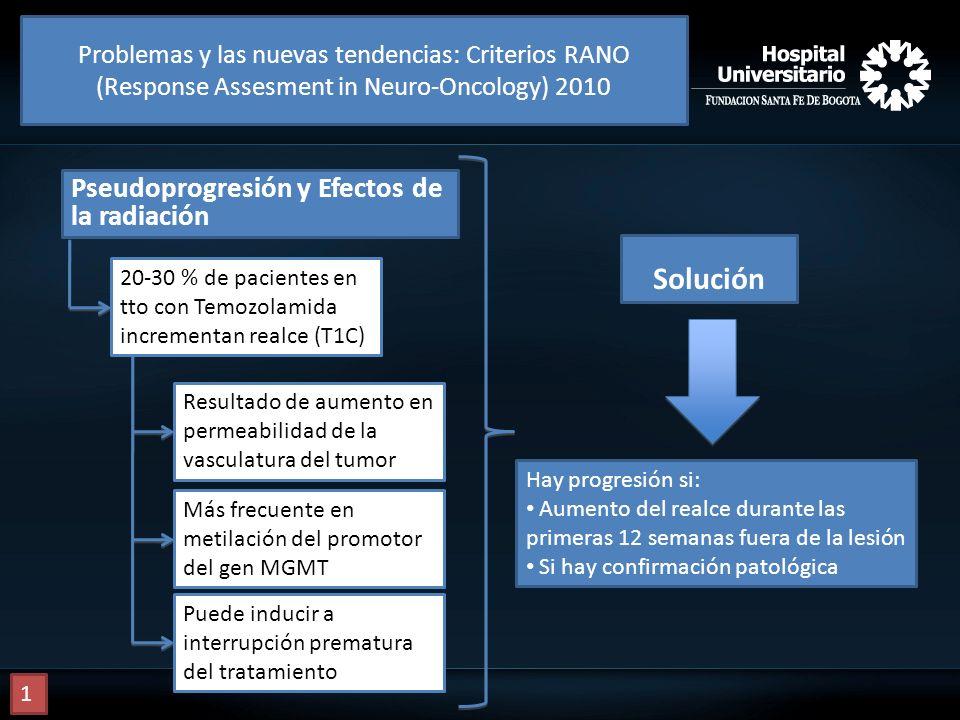 Pseudoprogresión y Efectos de la radiación 20-30 % de pacientes en tto con Temozolamida incrementan realce (T1C) Resultado de aumento en permeabilidad