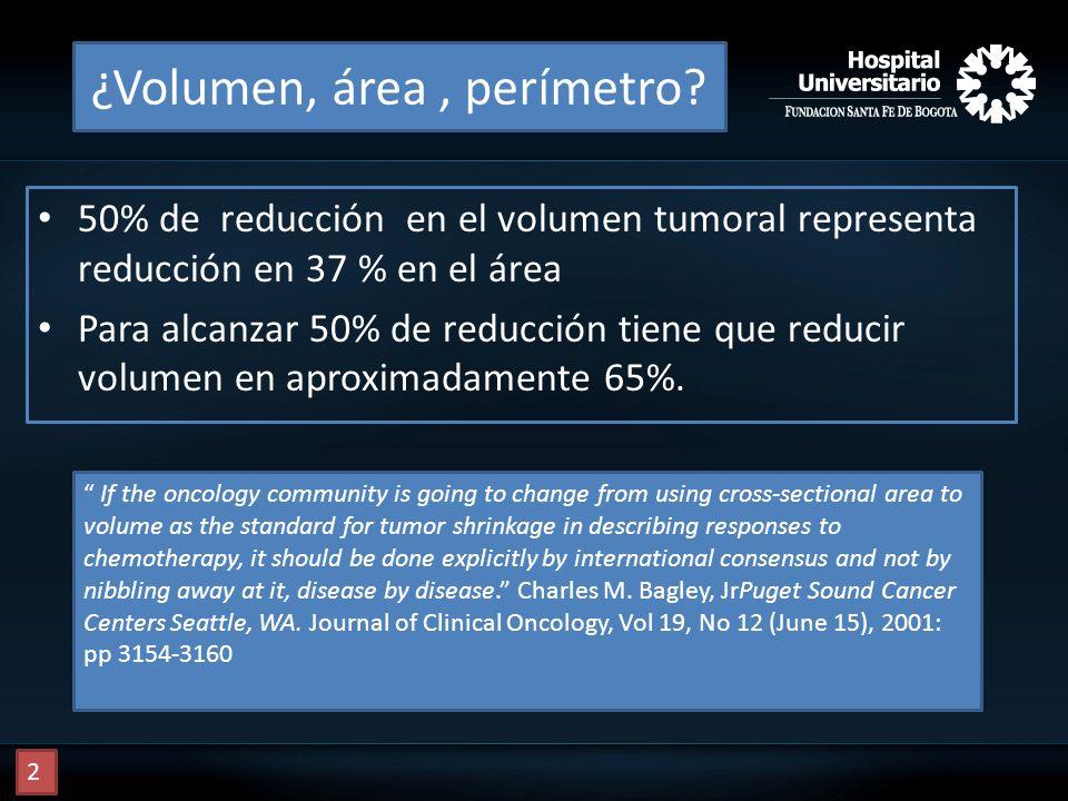 ¿Volumen, área, perímetro? 50% de reducción en el volumen tumoral representa reducción en 37 % en el área Para alcanzar 50% de reducción tiene que red