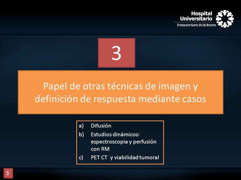Papel de otras técnicas de imagen y definición de respuesta mediante casos a)Difusión b)Estudios dinámicos: espectroscopia y perfusión con RM c)PET CT