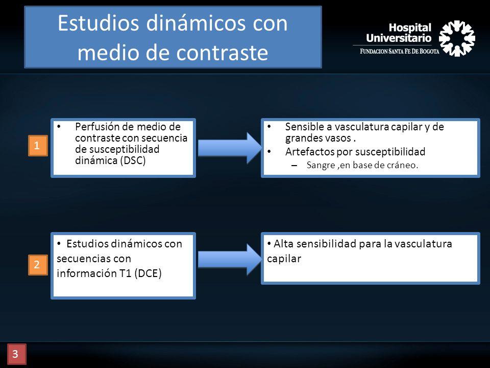 Estudios dinámicos con medio de contraste Perfusión de medio de contraste con secuencia de susceptibilidad dinámica (DSC) Sensible a vasculatura capil