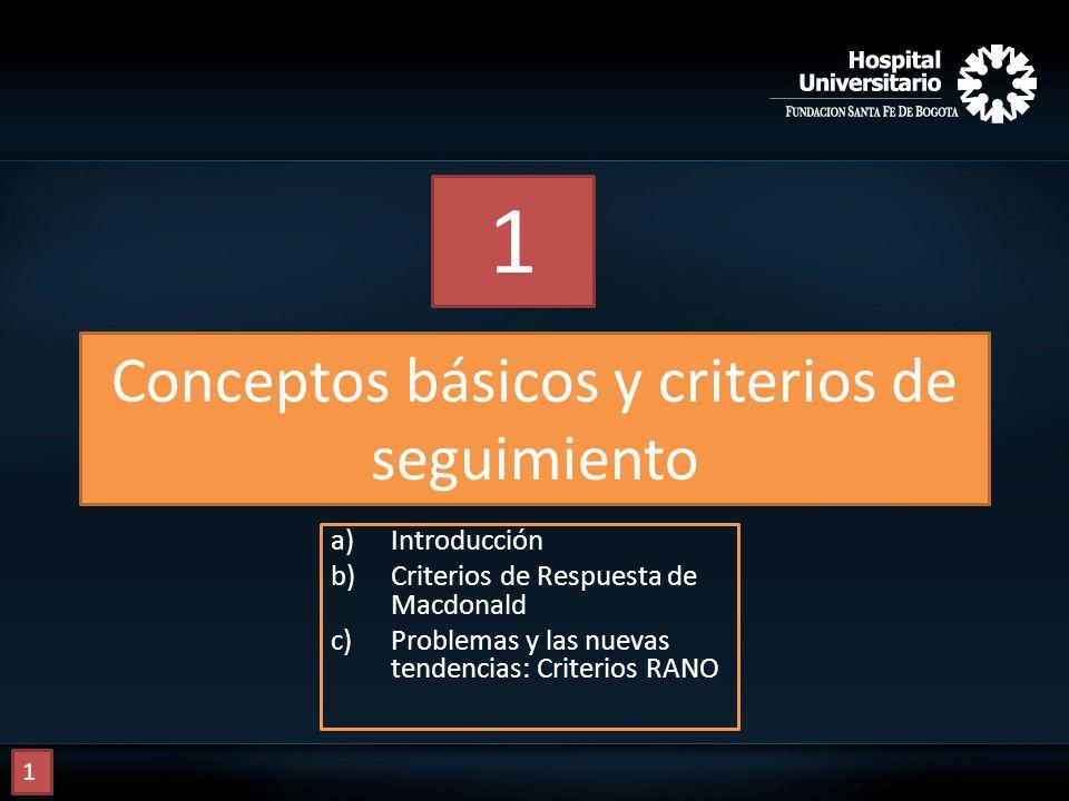 Conceptos básicos y criterios de seguimiento a)Introducción b)Criterios de Respuesta de Macdonald c)Problemas y las nuevas tendencias: Criterios RANO