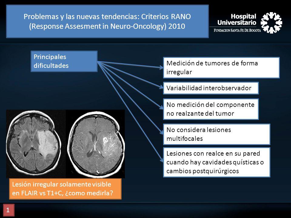 Problemas y las nuevas tendencias: Criterios RANO (Response Assesment in Neuro-Oncology) 2010 Principales dificultades Medición de tumores de forma ir