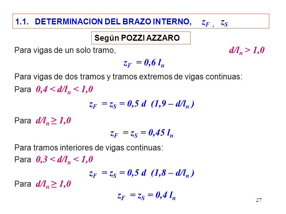 27 1.1. DETERMINACION DEL BRAZO INTERNO, z F, z S Para vigas de un solo tramo, d/l n > 1,0 z F = z S = 0,5 d (1,9 – d/l n ) z F = 0,6 l n Para vigas d