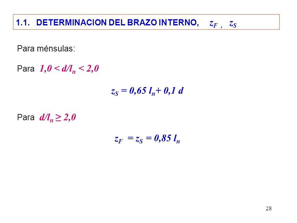 28 z S = 0,65 l n + 0,1 d Para ménsulas: Para 1,0 < d/l n < 2,0 Para d/l n 2,0 z F = z S = 0,85 l n 1.1. DETERMINACION DEL BRAZO INTERNO, z F, z S