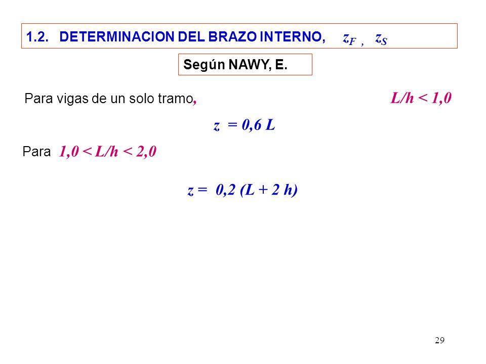 29 1.2. DETERMINACION DEL BRAZO INTERNO, z F, z S Para vigas de un solo tramo, L/h < 1,0 z = 0,2 (L + 2 h) z = 0,6 L Para 1,0 < L/h < 2,0 Según NAWY,