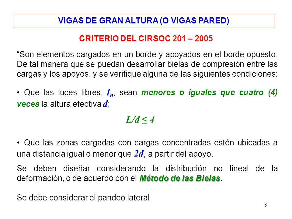3 VIGAS DE GRAN ALTURA (O VIGAS PARED) CRITERIO DEL CIRSOC 201 – 2005 Son elementos cargados en un borde y apoyados en el borde opuesto. De tal manera