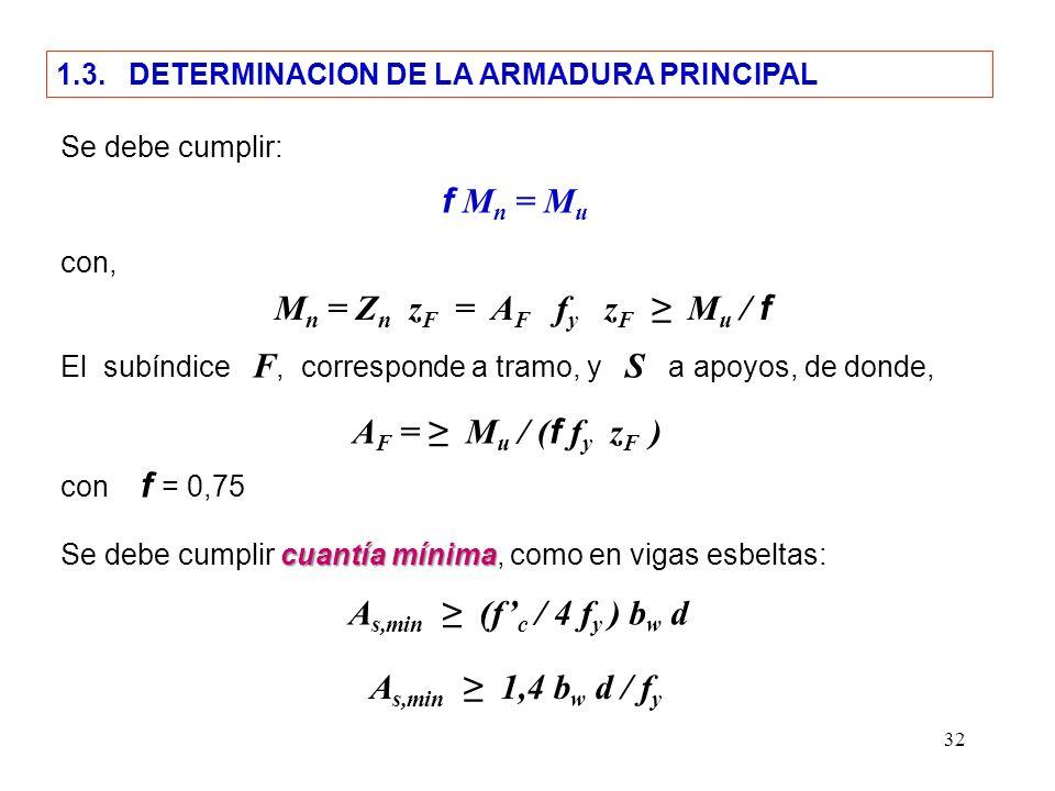 32 f M n = M u Se debe cumplir: 1.3. DETERMINACION DE LA ARMADURA PRINCIPAL con, M n = Z n z F = A F f y z F M u / f El subíndice F, corresponde a tra