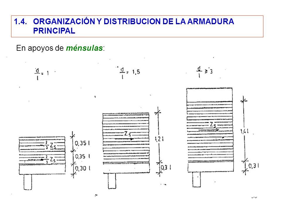 36 1.4. ORGANIZACIÓN Y DISTRIBUCION DE LA ARMADURA PRINCIPAL En apoyos de ménsulas: