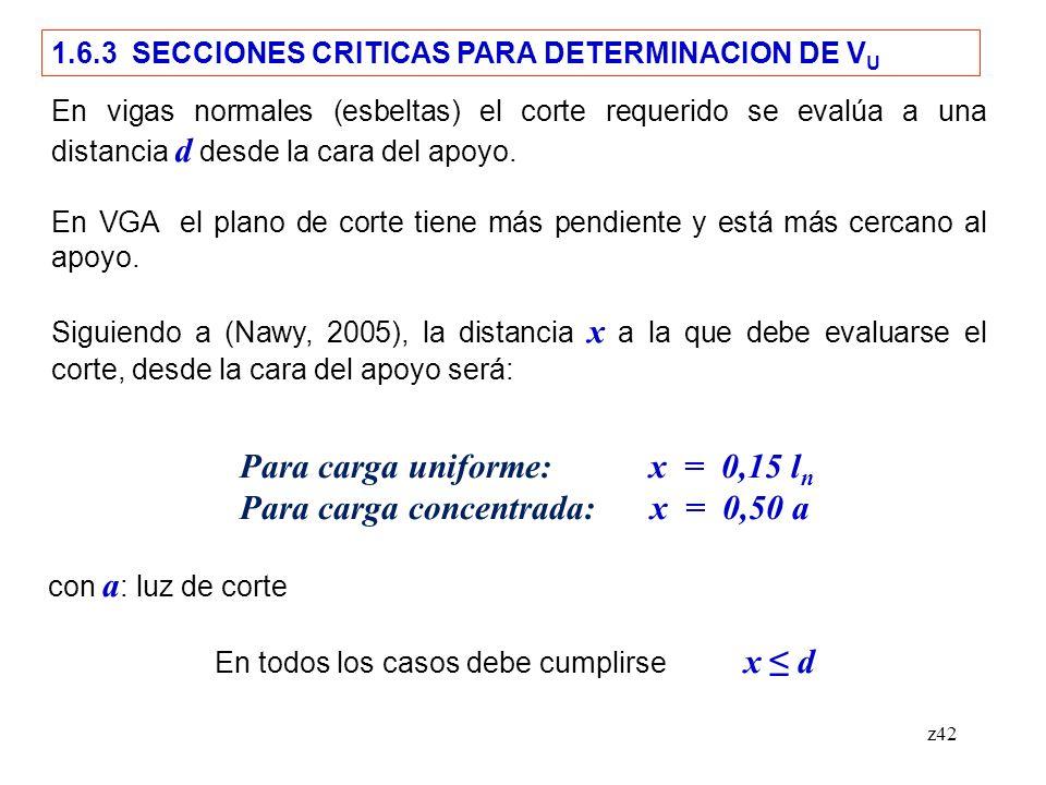 z42 1.6.3 SECCIONES CRITICAS PARA DETERMINACION DE V U En vigas normales (esbeltas) el corte requerido se evalúa a una distancia d desde la cara del apoyo.