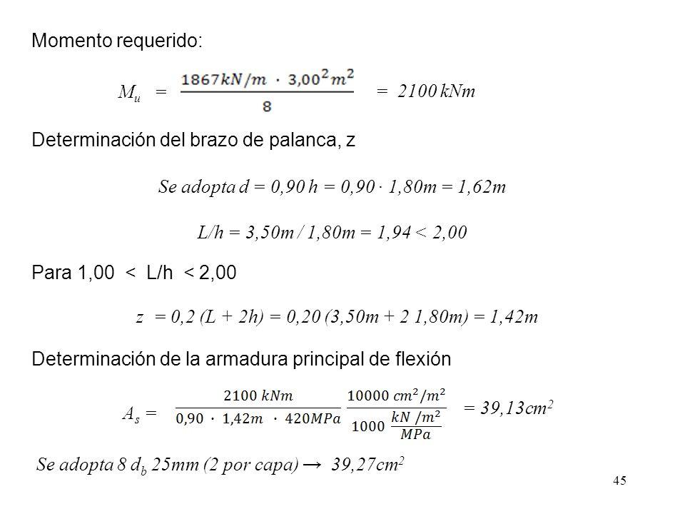 45 Momento requerido: M u = = 2100 kNm Se adopta d = 0,90 h = 0,90 1,80m = 1,62m L/h = 3,50m / 1,80m = 1,94 < 2,00 Determinación del brazo de palanca, z Para 1,00 < L/h < 2,00 z = 0,2 (L + 2h) = 0,20 (3,50m + 2 1,80m) = 1,42m Determinación de la armadura principal de flexión = 39,13cm 2 A s = Se adopta 8 d b 25mm (2 por capa) 39,27cm 2