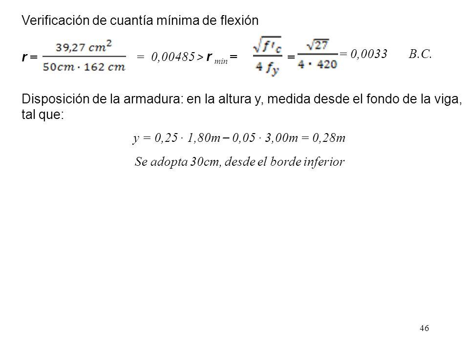 46 Verificación de cuantía mínima de flexión r = = 0,00485 > r min = = = 0,0033 B.C. y = 0,25 1,80m – 0,05 3,00m = 0,28m Se adopta 30cm, desde el bord