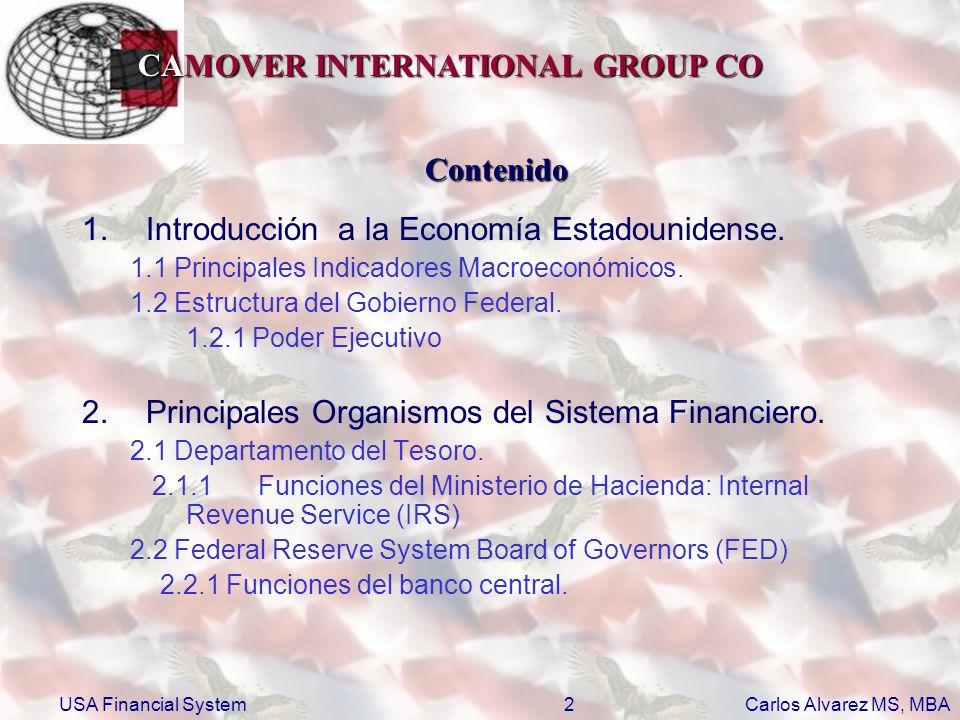 CAMOVER INTERNATIONAL GROUP CO Carlos Alvarez MS, MBA USA Financial System3 Contenido 2.Principales Organismos del Sistema Financiero.