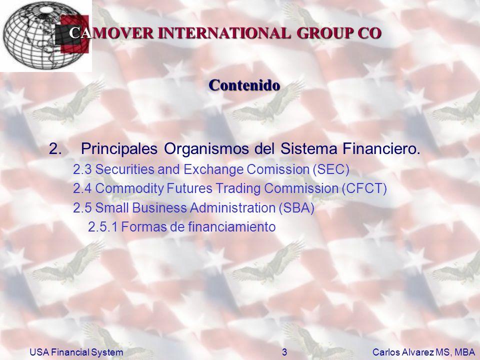 CAMOVER INTERNATIONAL GROUP CO Carlos Alvarez MS, MBA USA Financial System4 Contenido 3.Principales Bolsas de Valores 3.1 NYSE 3.2 NASDAQ 3.3 AMEX 3.4 CME 3.5 CBOE 3.6 CBOT Principales indicadores bursátiles 4.Principales indicadores bursátiles