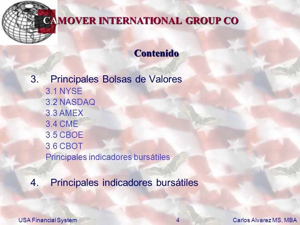 CAMOVER INTERNATIONAL GROUP CO Carlos Alvarez MS, MBA USA Financial System25 2.2.1Funciones del Banco Central (FED) Sus principales funciones son: –Conducir la política monetaria por medio de la influencia del dinero y de las condiciones de crédito dentro de la economía, manteniendo siempre precios estables.