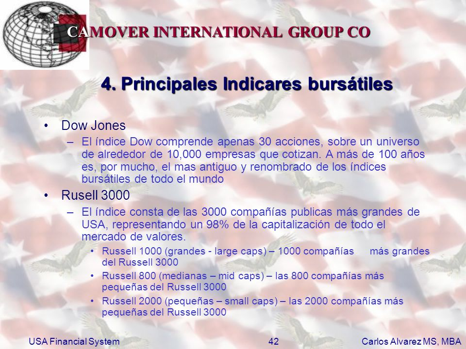 CAMOVER INTERNATIONAL GROUP CO Carlos Alvarez MS, MBA USA Financial System42 4. Principales Indicares bursátiles Dow Jones –El índice Dow comprende ap