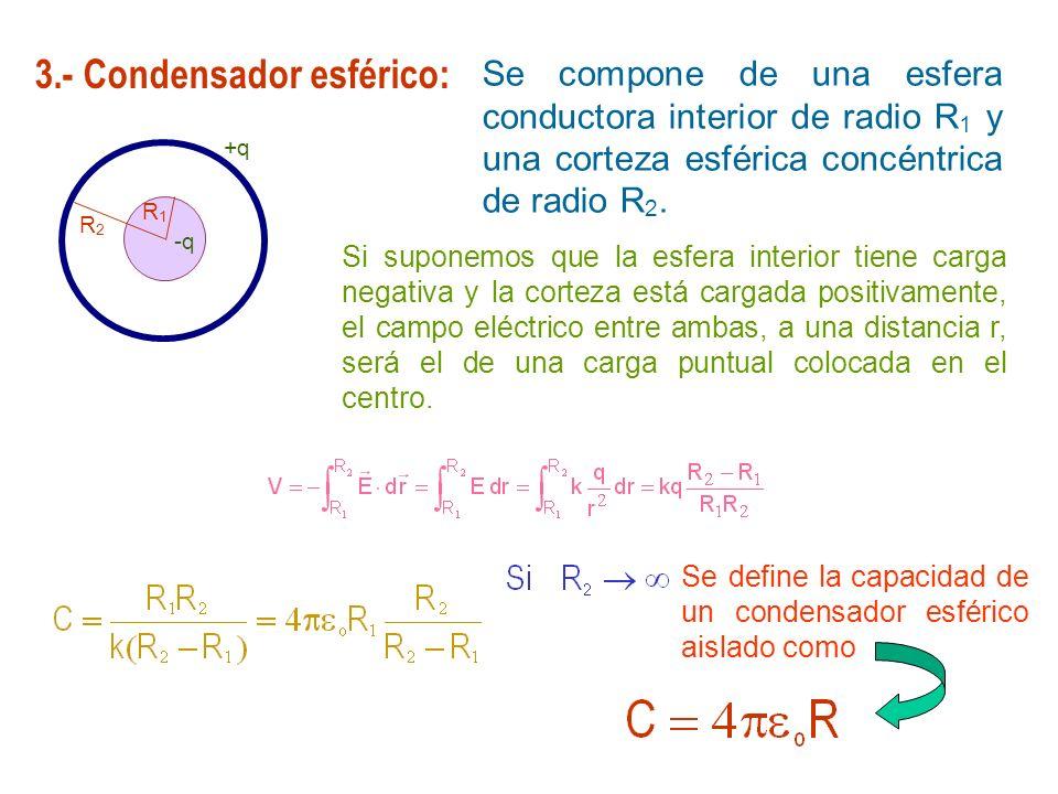 3.- Condensador esférico: Se compone de una esfera conductora interior de radio R 1 y una corteza esférica concéntrica de radio R 2. Si suponemos que