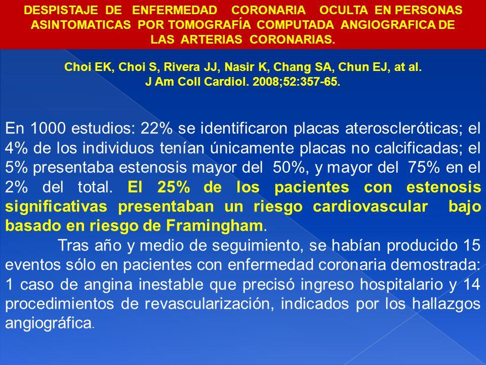 Choi EK, Choi S, Rivera JJ, Nasir K, Chang SA, Chun EJ, at al. J Am Coll Cardiol. 2008;52:357-65. En 1000 estudios: 22% se identificaron placas ateros