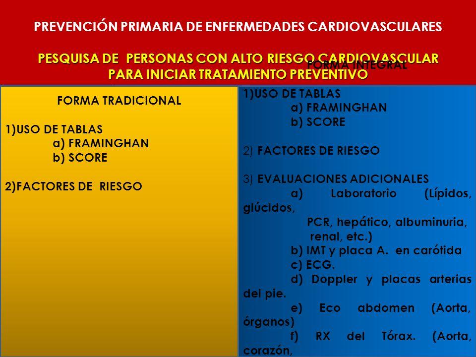 PREVENCIÓN PRIMARIA DE ENFERMEDADES CARDIOVASCULARES PESQUISA DE PERSONAS CON ALTO RIESGO CARDIOVASCULAR PARA INICIAR TRATAMIENTO PREVENTIVO FORMA TRA