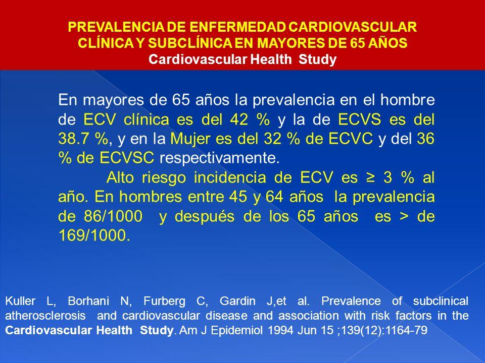 En mayores de 65 años la prevalencia en el hombre de ECV clínica es del 42 % y la de ECVS es del 38.7 %, y en la Mujer es del 32 % de ECVC y del 36 %