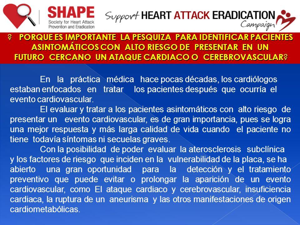 En la práctica médica hace pocas décadas, los cardiólogos estaban enfocados en tratar los pacientes después que ocurría el evento cardiovascular. El e