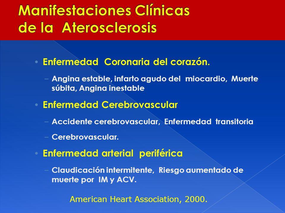 Enfermedad Coronaria del corazón. – Angina estable, infarto agudo del miocardio, Muerte súbita, Angina inestable Enfermedad Cerebrovascular – Accident