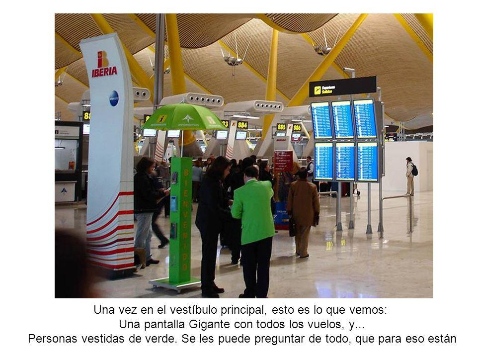 Una vez en el vestíbulo principal, esto es lo que vemos: Una pantalla Gigante con todos los vuelos, y... Personas vestidas de verde. Se les puede preg