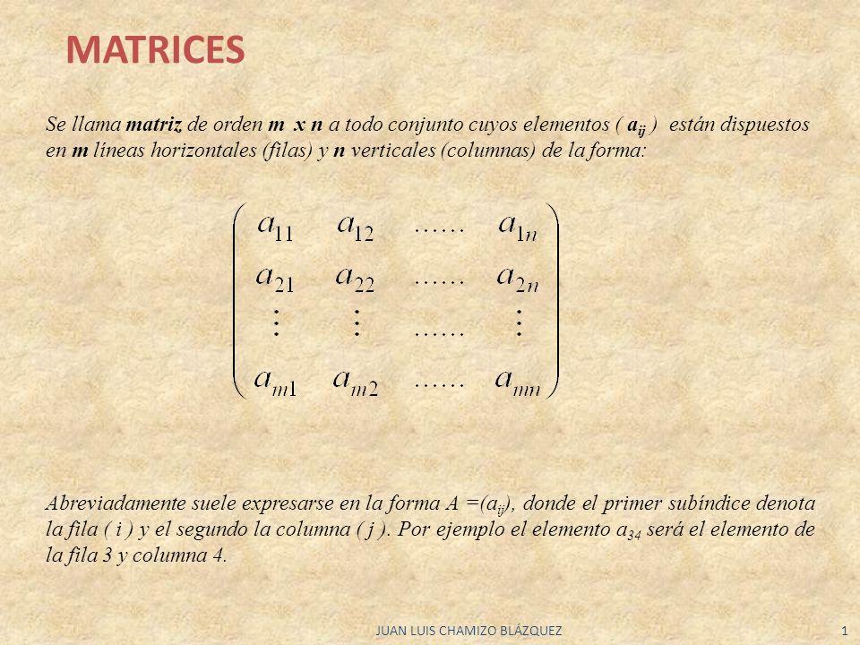 JUAN LUIS CHAMIZO BLÁZQUEZ1 Se llama matriz de orden m x n a todo conjunto cuyos elementos ( a ij ) están dispuestos en m líneas horizontales (filas)