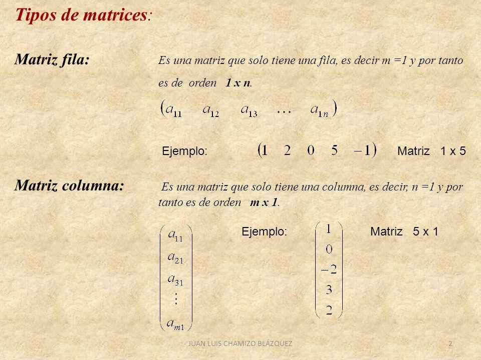 JUAN LUIS CHAMIZO BLÁZQUEZ2 Matriz fila: Es una matriz que solo tiene una fila, es decir m =1 y por tanto es de orden 1 x n. Matriz columna: Es una ma