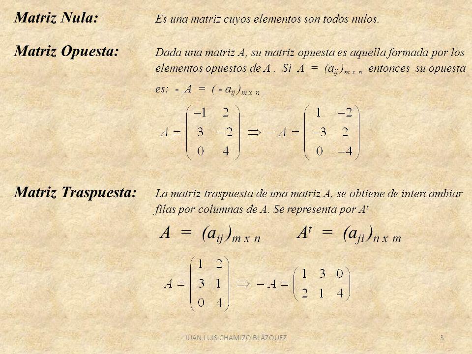 JUAN LUIS CHAMIZO BLÁZQUEZ3 Matriz Nula: Es una matriz cuyos elementos son todos nulos. Matriz Opuesta: Dada una matriz A, su matriz opuesta es aquell