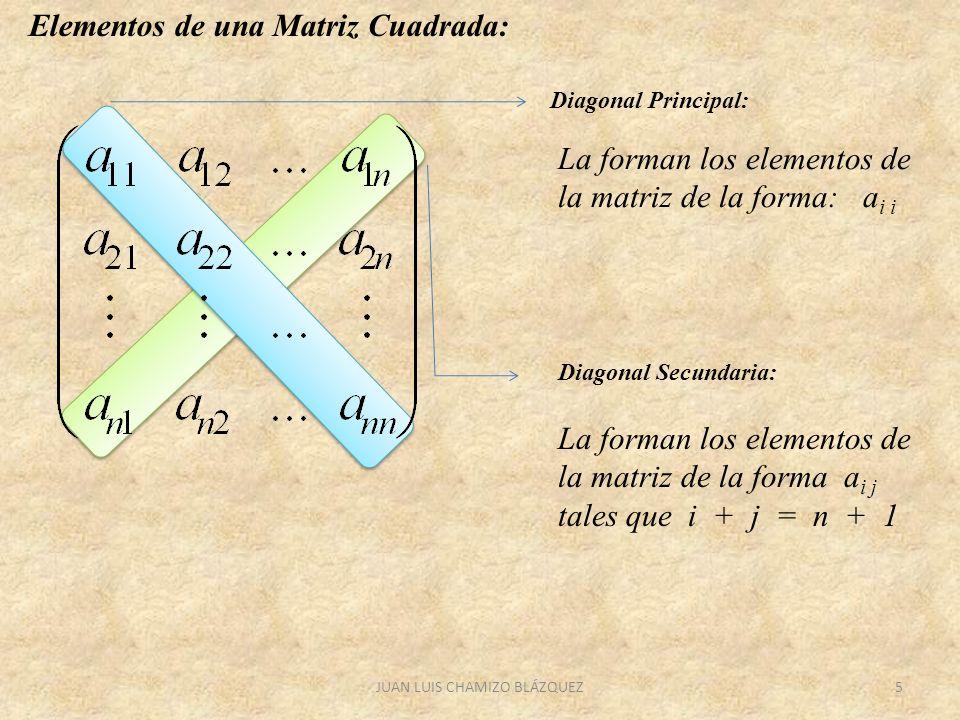 JUAN LUIS CHAMIZO BLÁZQUEZ5 Elementos de una Matriz Cuadrada: Diagonal Principal: La forman los elementos de la matriz de la forma: a i i Diagonal Sec