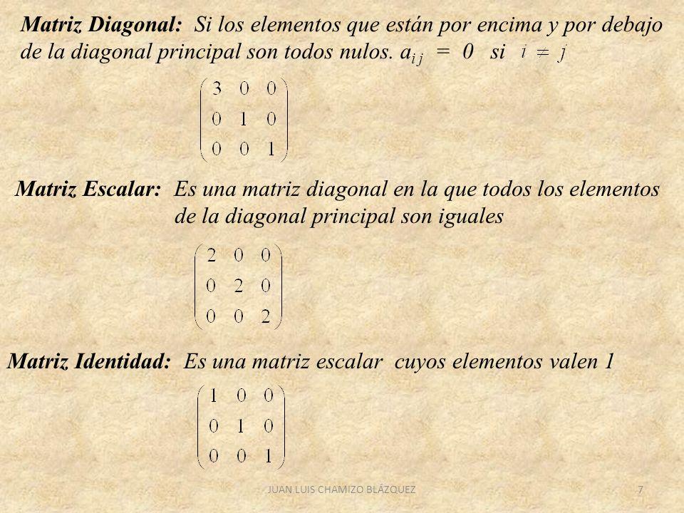 JUAN LUIS CHAMIZO BLÁZQUEZ7 Matriz Diagonal: Si los elementos que están por encima y por debajo de la diagonal principal son todos nulos. a i j = 0 si