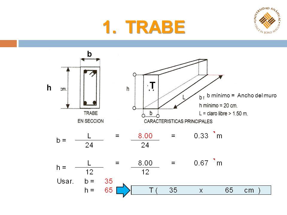 1.TRABE T b h b mínimo = Ancho del muro