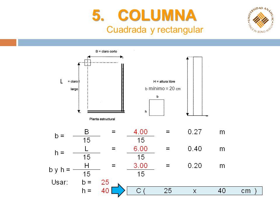 5. COLUMNA 5. COLUMNA Cuadrada y rectangular L b mínimo = 20 cm