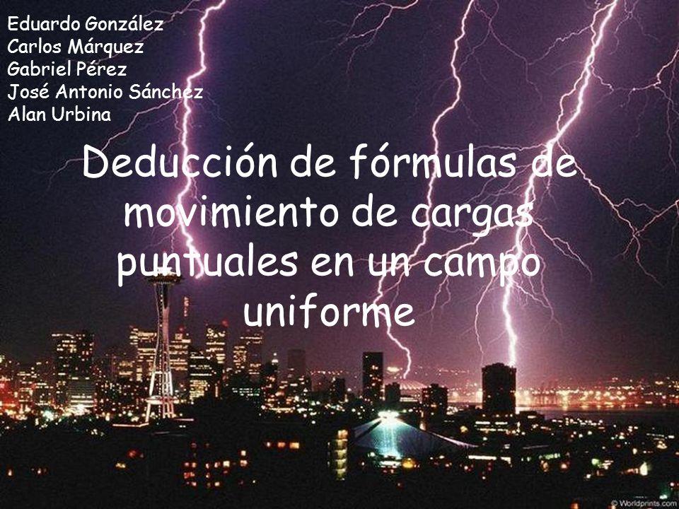 Deducción de fórmulas de movimiento de cargas puntuales en un campo uniforme Eduardo González Carlos Márquez Gabriel Pérez José Antonio Sánchez Alan U