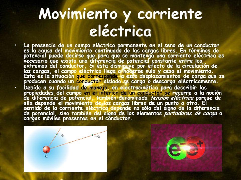 Movimiento y corriente eléctrica La presencia de un campo eléctrico permanente en el seno de un conductor es la causa del movimiento continuado de las