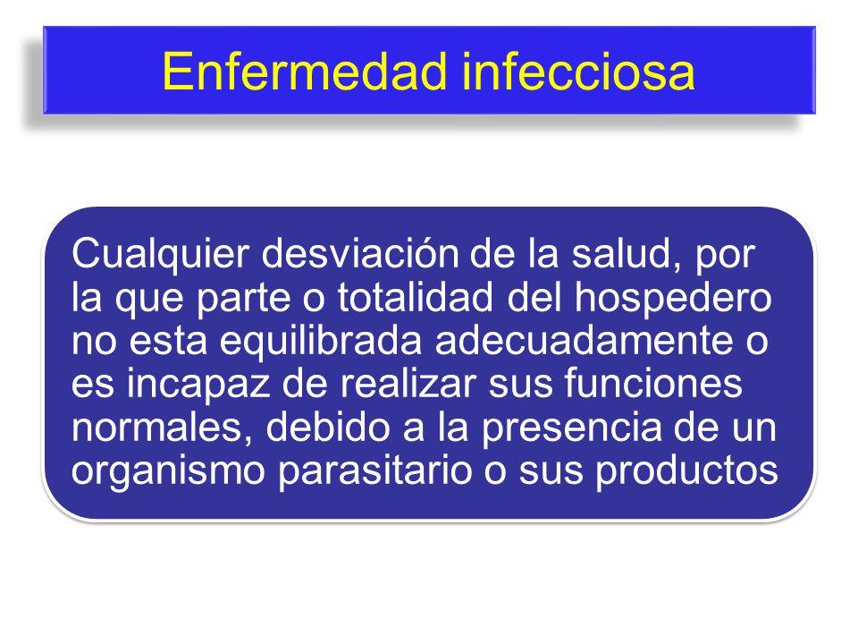 Enfermedad infecciosa Cualquier desviación de la salud, por la que parte o totalidad del hospedero no esta equilibrada adecuadamente o es incapaz de r