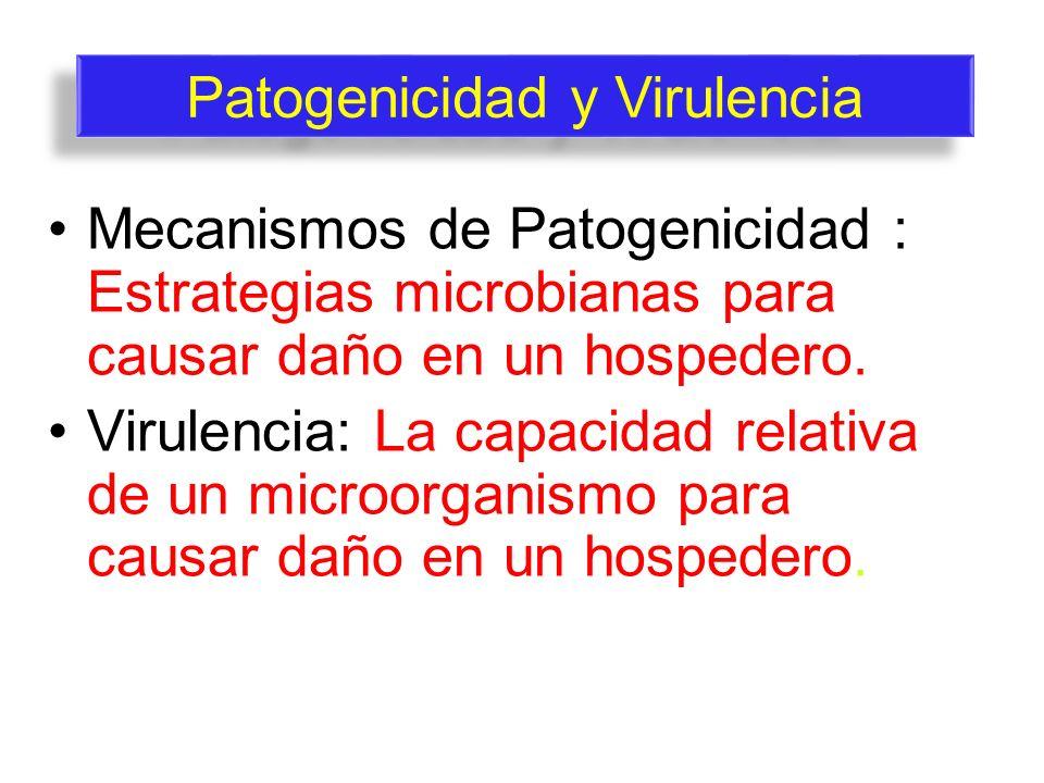 Mecanismos de Patogenicidad : Estrategias microbianas para causar daño en un hospedero. Virulencia: La capacidad relativa de un microorganismo para ca