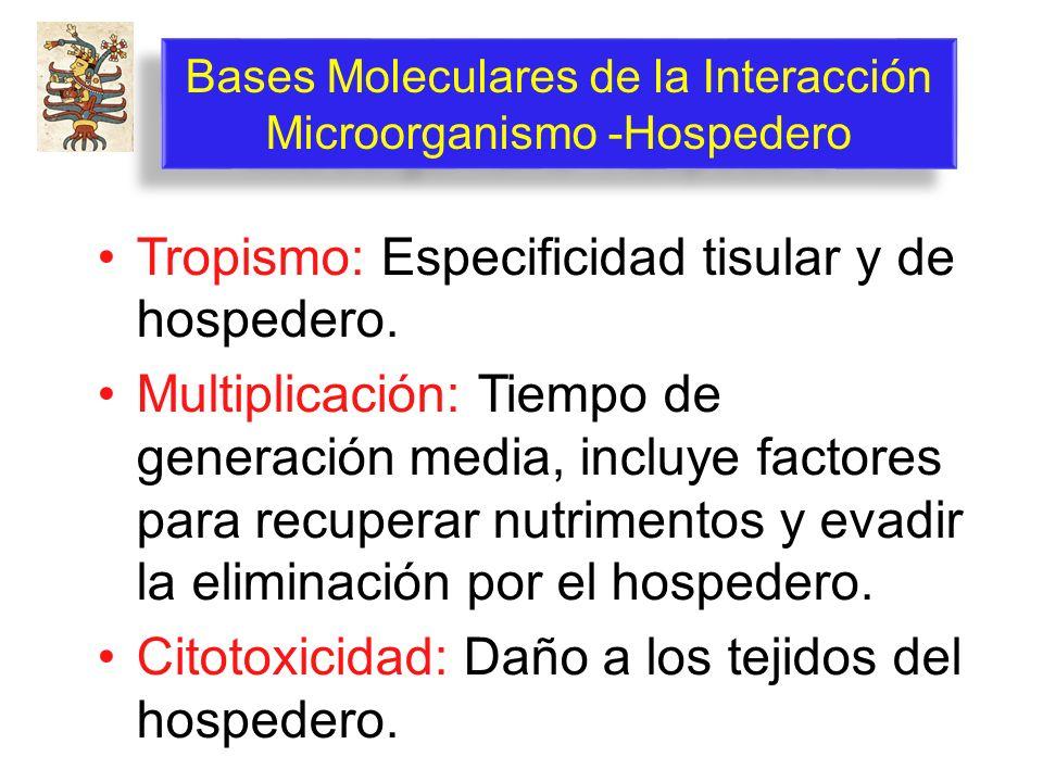 Bases Moleculares de la Interacción Microorganismo -Hospedero Tropismo: Especificidad tisular y de hospedero. Multiplicación: Tiempo de generación med